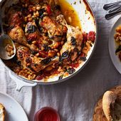 Jamie Oliver's Tender & Crisp Chicken Legs With Sweet Tomatoes & Basil Recipe on Food52