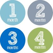 Baby Month Stickers, Photo Prop Infant, Month by Month, Monthly Picture, Boy Shirt, Blue Gray Green, Baby Shower Gift, Baby Milestone – milestone cards