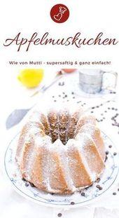 Apfelmuskuchen Rezept – saftiger Kuchen als Gugelhupf – Backen