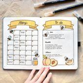 16 Format-Ideen für das Bullet Journal unter dem Motto Bee & Honeycomb – #amp #… – Brenda O.