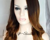 Double drawn Remy Human Hair Natural Black into Chocolate Brown Ombre U Part Wig