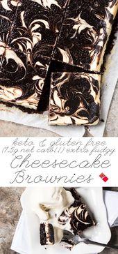 Brownies sans gluten, à faible teneur en glucides et au kéto au fromage Keto Seulement 1,5 g de glucides nets!