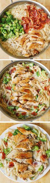 Pasta cremosa de brócoli, pechuga de pollo y tocino y fettuccine en Alfredo casero   – easy-dinner-recipes