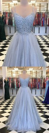 Tulle Spaghetti Straps Long Prom Dresses, Appliques Formal Evening Dress