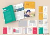 Magazine Layout with Bright Colorful Elements. Buy this stock template and explore similar templates at Adobe Stock