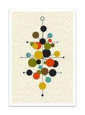 RADIATE-Classic Mid Century Print, Abstract Modern Giclée Print