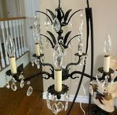 GORGEOUS ANTIQUE BLACK SHABBY CHIC BRASS & CRYSTAL CHANDELIER ...