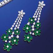Pendant Style Emerald Diamond Gold Earrings For Sa…