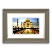 Framed Poster Taj Mahal India East Urban Home size: 93 cm H x 126 cm W, frame type: Silver colored