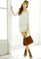 Engagement dress? Lace Three Quarter Sleeve White Mini Summer Dress