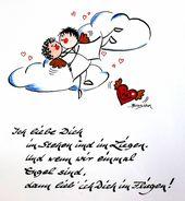 """Heidemarie Brosien """"Ich liebe Dich im Stehen und im Liegen"""" von Heidemarie Brosien – Passepartout in Museumsqualität und im Außenformat von 24×30 cm"""