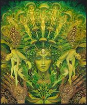 The Dryad Forest Nymph Goddess Psychedelic Art 16×20 Print Pagan Mythology Psychedelic Bohemian Gypsy Goddess Poster Art