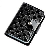 Woman Patent Leather ID Credit Card Case Holder Pocket Bags Wallet Organizor (Color – Black)