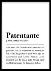 Patentante Definition, Geburtstagsgeschenk Tante, Taufe Geschenk, Poster schwarz weiß Download Plakat Familie/Schwester/Freundin Pate werden