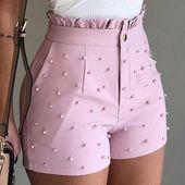 Ladies's Cute Soild Shade Shorts Bead Ornament Excessive Waist Feminine Caual Summer season Women Shorts For Ladies
