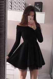 Long Sleeve Homecoming Dresses Off the Shoulder Short Black/Red Prom Dress