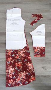 Cette jolie gown mi-longue est très facile à coudre avec un motif de tee-shirt…
