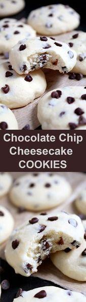 Diese Kekse mit Frischkäse und Schokoladenstücken schmelzen einfach in Ihrem Mund. C
