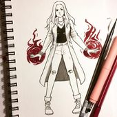 Day 5- Scarlet Witch. I always really like the outfits she has, super cool! #inktober #avengersinfinitywar #scarletwitch #wandamaximoff