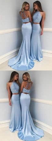 Mermaid Two-Piece Round Neck Sweep Train Blue Prom Dress With Beading ML893