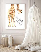 Giraffe Print, Giraffe Wall Art, Giraffe nursery decor, Hello there quote, Nursery safari print, Baby Giraffe nursery wall print –  H1410