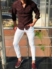 Claret Red Slim Fit Denim Shirt, White Skinny Jeans, and Claret Red Tassel Loafers