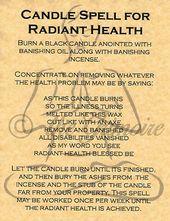 Bougie pour la santé radieuse, page du Livre des Ombres, sorcellerie, wicca   – Prayer
