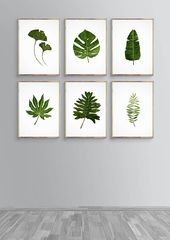 Green Leaf Painting, Tropic Watercolor, Monstera Tropical, Banana Tropical Art, Wall Art Set Green, Love Decor Green, Plant Office