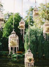 Des cages à oiseaux pour une décoration vintage et romantique