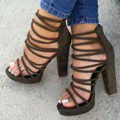 Women's Sandals High Heel Shoes Chunky Block Platform ShoesQ-0105 from Eoooh❣❣