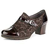 7 Pitillos Zapato Abotinado De Ante Grabado Y Charol Con Tacon Medio 5271 Para Mujer Ankle Boot Shoes Boots