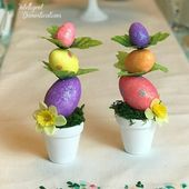 Mini Easter Egg Topiary Dollar Store Craft