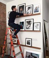 Love book ledges used for frames photos & art! #diy #photowall #gallerywall