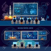 Mission Control Center banner, start rocket in space. Modern space technologies, return report of start of rocket. Space shuttle taking off on mission…
