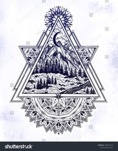 Decorative triangle frame with wilderness landscape scene with a lake, road, pin… – Tattoo Inspo