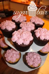 pink rosette cupcakes with sugar pearls