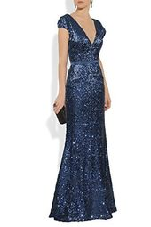 YSMei Women's Long Sequin Evening Gown V Neck Cap Sleeve Prom Dress YPM323 #dres…