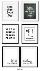 Free Bathroom Printables Schwarz Weiss Kunstdrucke Fur Jedes Badezimmerdekor Badezimm Badezimmer Wandkunst Schwarz Weisse Badezimmer Weisse Badezimmer