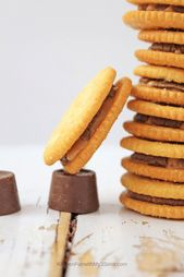 Large stack of rolo stuffed ritz crackers ready to…