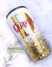 Gold Chunky Glitter Tumbler, Glittered Tumbler, Custom Glitter Tumbler, Skinny G…   – Products