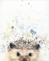 Hedgehog Art – Woodland Animal – Nursery Animals – Cabin Decor – Woodland Nursery – Hedgehog Art Print – Cottage Decor – Animal Wall Decor