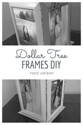 This DIY picture frame idea makes a great centerpiece and a great home decor item.  It's easy to put together 4 Dollar Tree frames to make this ph...