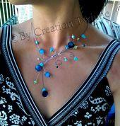 Nette blaue Perlenkette. Glas und Muschel, handgemacht   – Jewelry Choker Necklaces