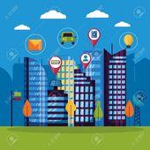 technology digital services urban smart city vector illustration , #Aff, #services, #urban, #technology, #digital,