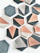 Kohle Kohle Sechseck Beton Untersetzer mit Silber …