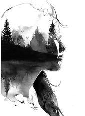 Au delà les pins, édition n ° 2, imprimer à partir d'une illustration aquarelle originale par Jessica Durrant