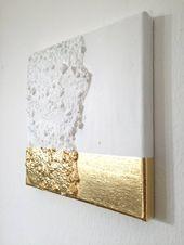 Abstrakte Malerei weiß, Gold G19