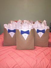 Groomsmen gift bag wrapping idea decor usher gift wedding suit sack tuxedo prese…