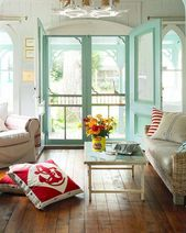 Shining Coastal Home Living Room with Relaxing and Fresh Color Scheme