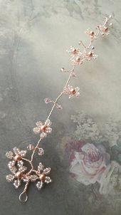 Items similar to Blush pink blossom wedding hair vine, Rose gold, Bridal headpiece, Flower hair vine accessory, Romantic headdress, Garland hair vine on Etsy